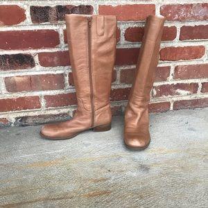 Shoes - Nine West tan leather riding boots Sz 7.5
